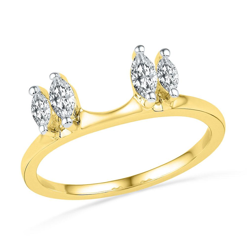 GND Diamond Ring Guard 14kt Yellow Gold Womens Oval Diamond Ring Guard Wrap Solitaire Enhancer 1/2 Cttw