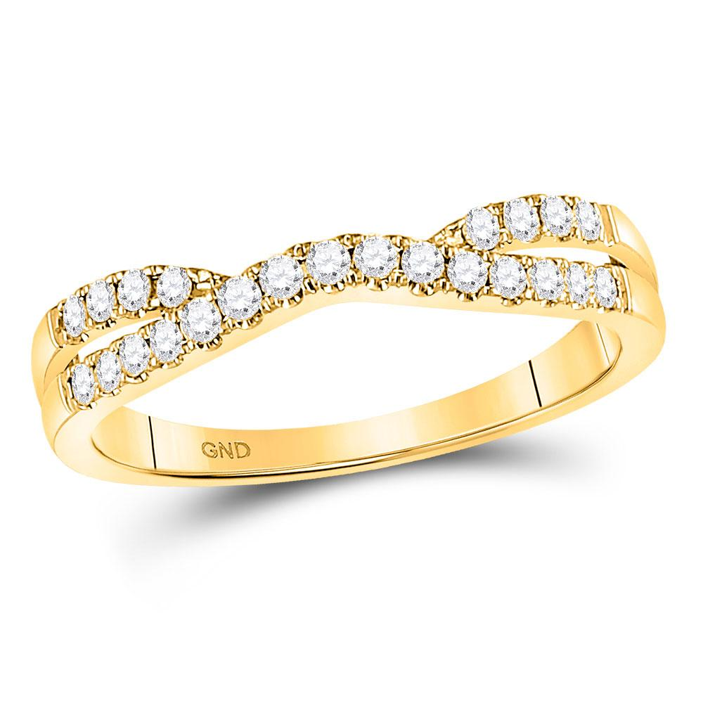 GND Diamond Ring Guard 14kt Yellow Gold Womens Round Diamond Contour Enhancer Wedding Band 1/4 Cttw