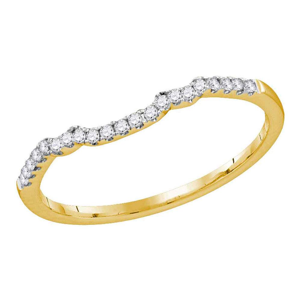 GND Diamond Ring Guard 14kt Yellow Gold Womens Round Diamond Contoured Slender Wedding Band 1/10 Cttw