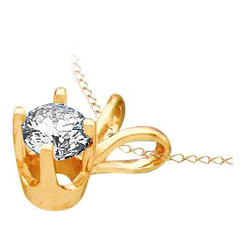 GND Diamond Solitaire Pendant 14kt Yellow Gold Womens Round Diamond Solitaire Pendant 1/4 Cttw