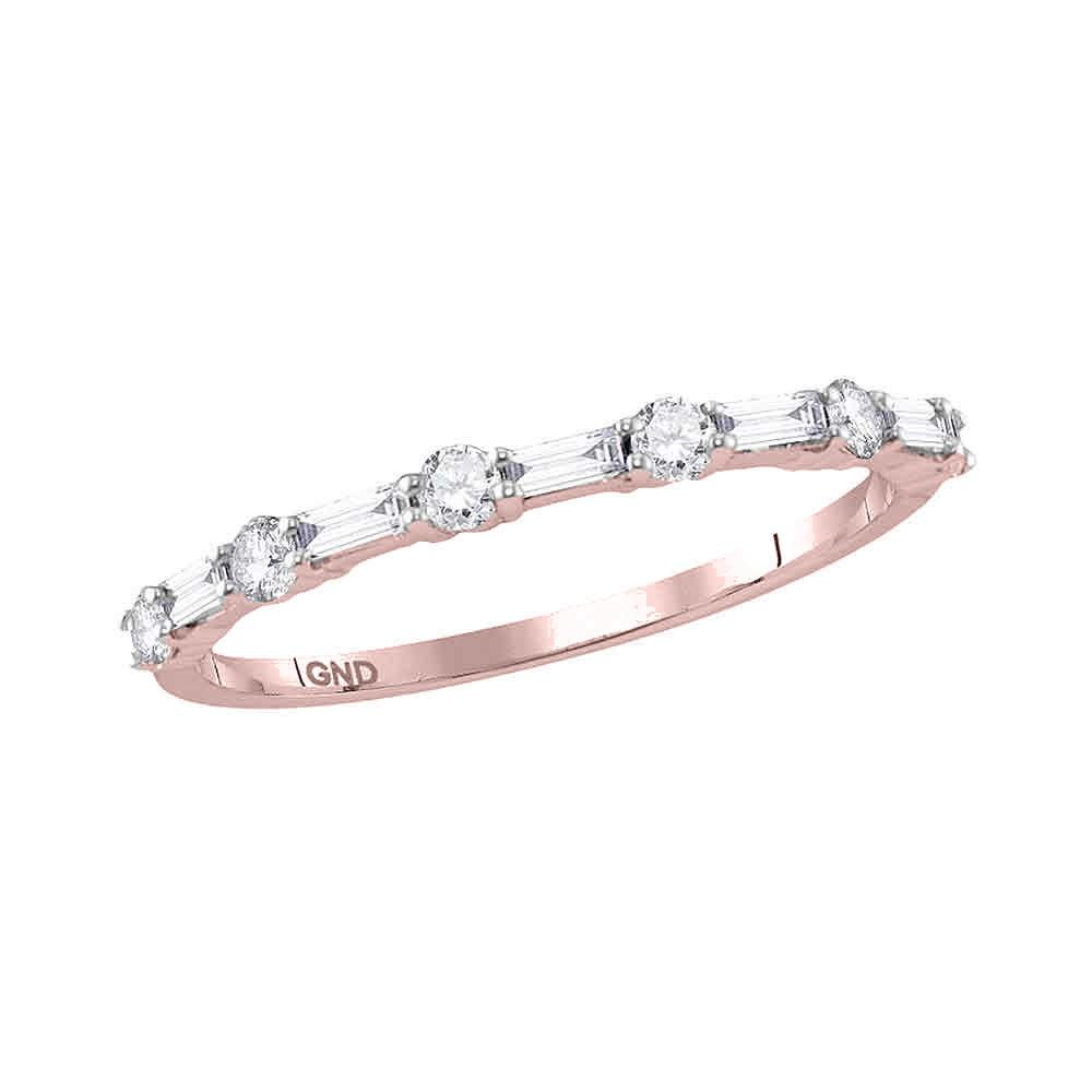 GND Diamond Stackable Band 10kt Rose Gold Womens Round Baguette Diamond Stackable Band Ring 3/8 Cttw