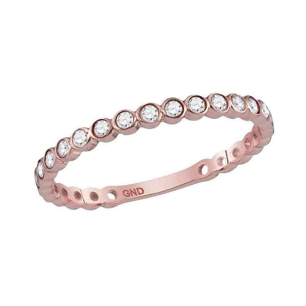 GND Diamond Stackable Band 10kt Rose Gold Womens Round Diamond Bezel Set Stackable Band Ring 1/5 Cttw