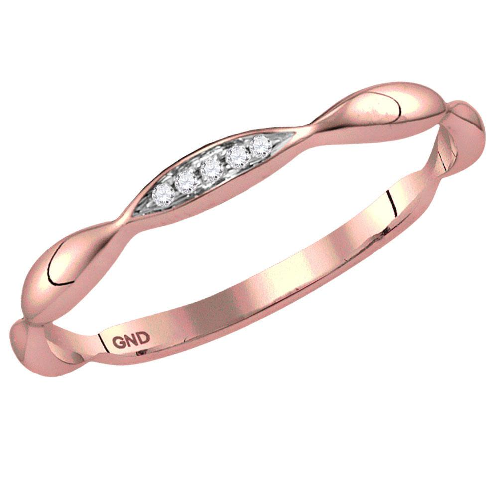 GND Diamond Stackable Band 10kt Rose Gold Womens Round Diamond Contour Stackable Band Ring .02 Cttw