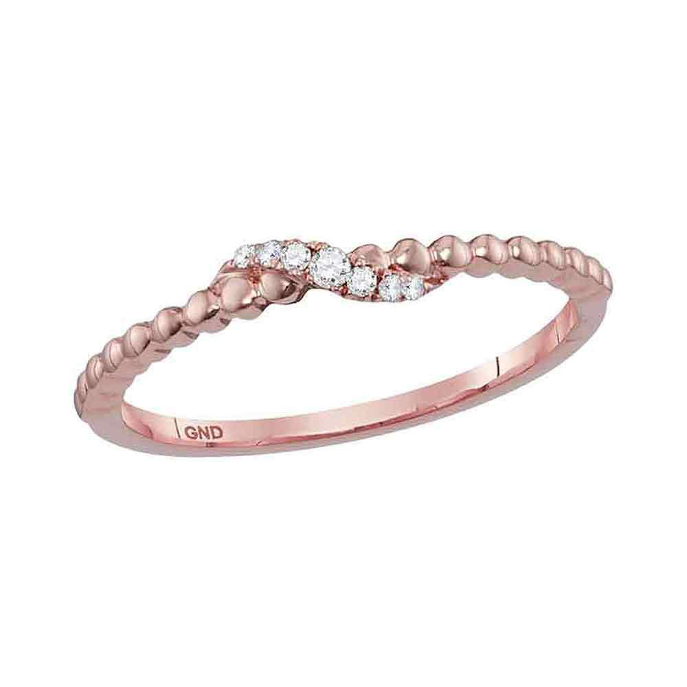 GND Diamond Stackable Band 10kt Rose Gold Womens Round Diamond Crossover Stackable Band Ring 1/20 Cttw