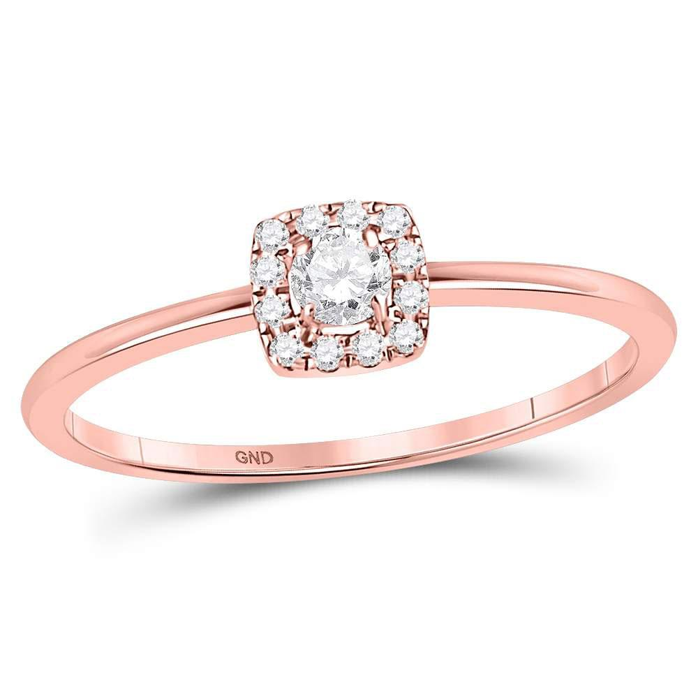 GND Diamond Stackable Band 10kt Rose Gold Womens Round Diamond Solitaire Stackable Band Ring 1/5 Cttw