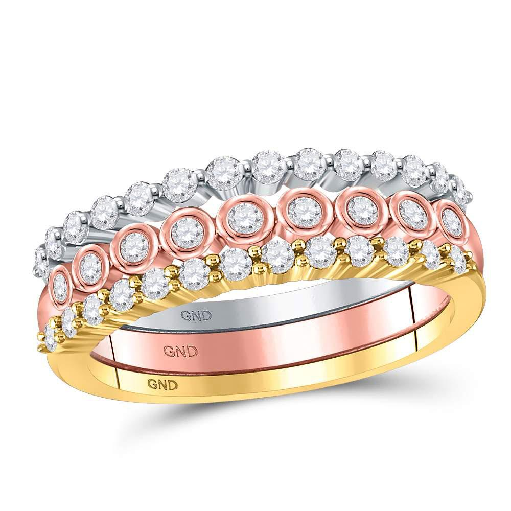 GND Diamond Stackable Band 10kt Tri-Tone Gold Womens Round Diamond 3-Piece Stackable Band Ring Set 1/2 Cttw