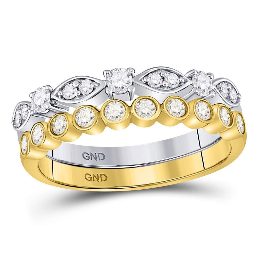 GND Diamond Stackable Band 10kt Two-tone Gold Womens Round Diamond 2-piece Stackable Band Ring 1/2 Cttw