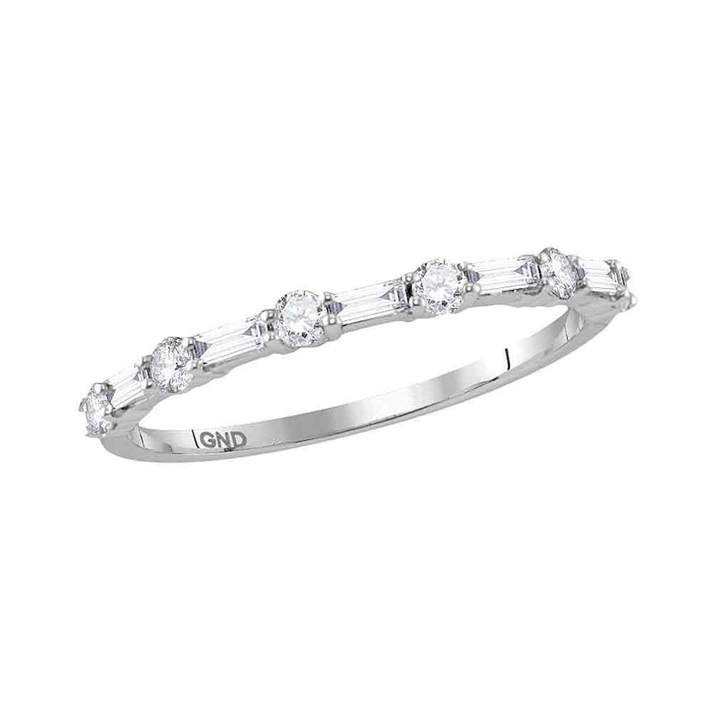 GND Diamond Stackable Band 10kt White Gold Womens Round Baguette Diamond Stackable Band Ring 3/8 Cttw