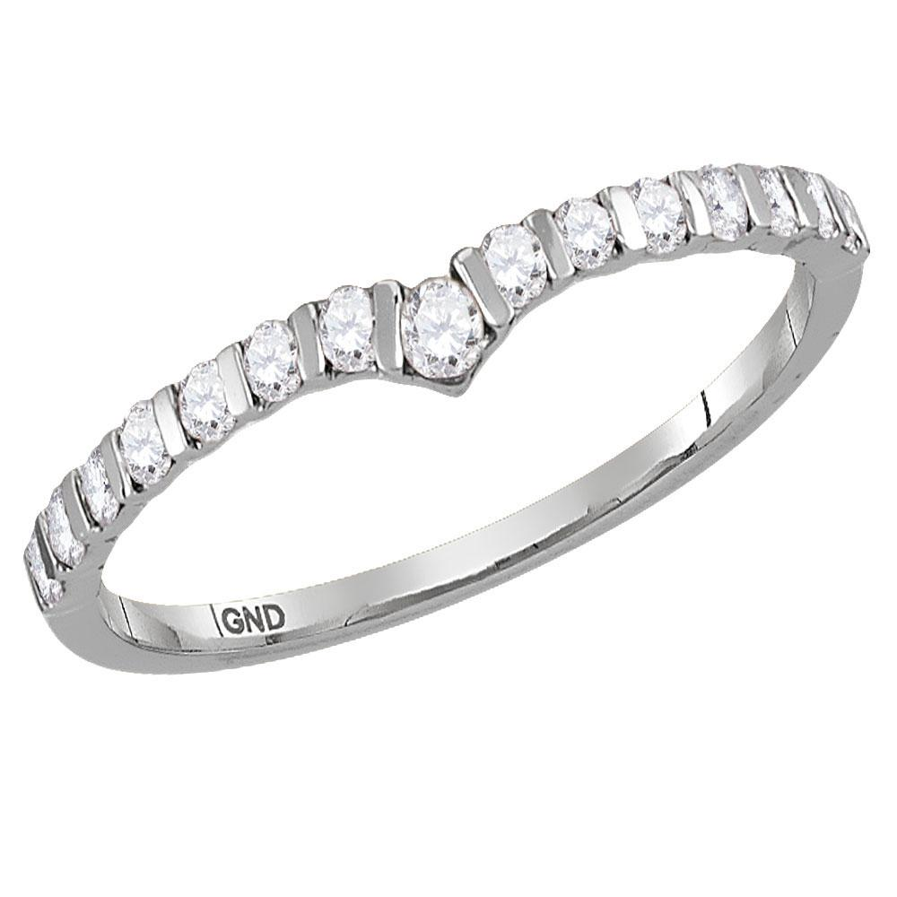 GND Diamond Stackable Band 10kt White Gold Womens Round Diamond Chevron Stackable Band Ring 1/4 Cttw