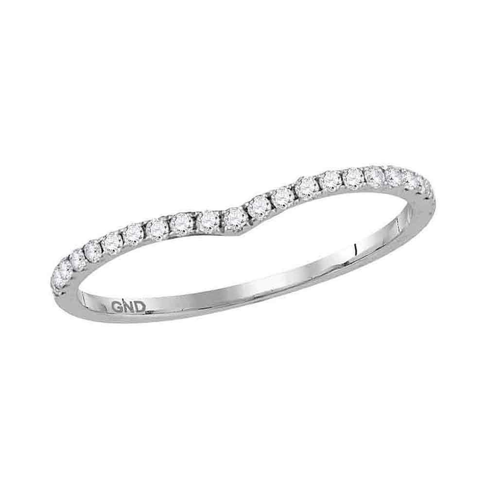 GND Diamond Stackable Band 10kt White Gold Womens Round Diamond Chevron Stackable Band Ring 1/6 Cttw