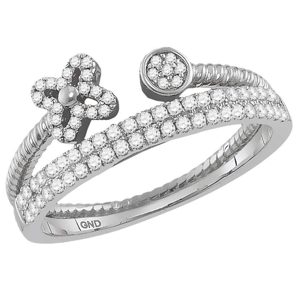 GND Diamond Stackable Band 10kt White Gold Womens Round Diamond Flower Bisected Stackable Band Ring 1/5 Cttw