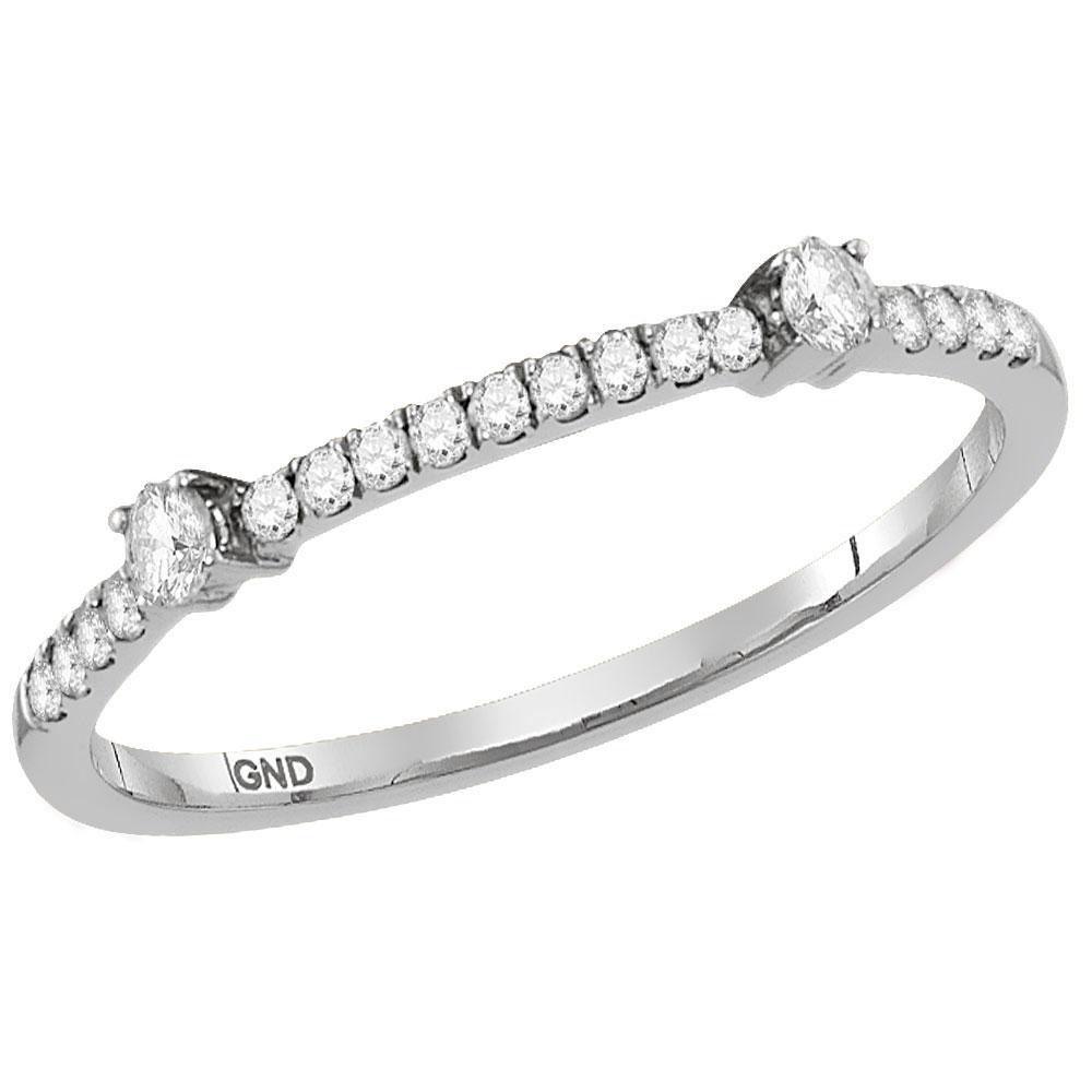 GND Diamond Stackable Band 10kt White Gold Womens Round Diamond Single Row Stackable Band Ring 1/6 Cttw