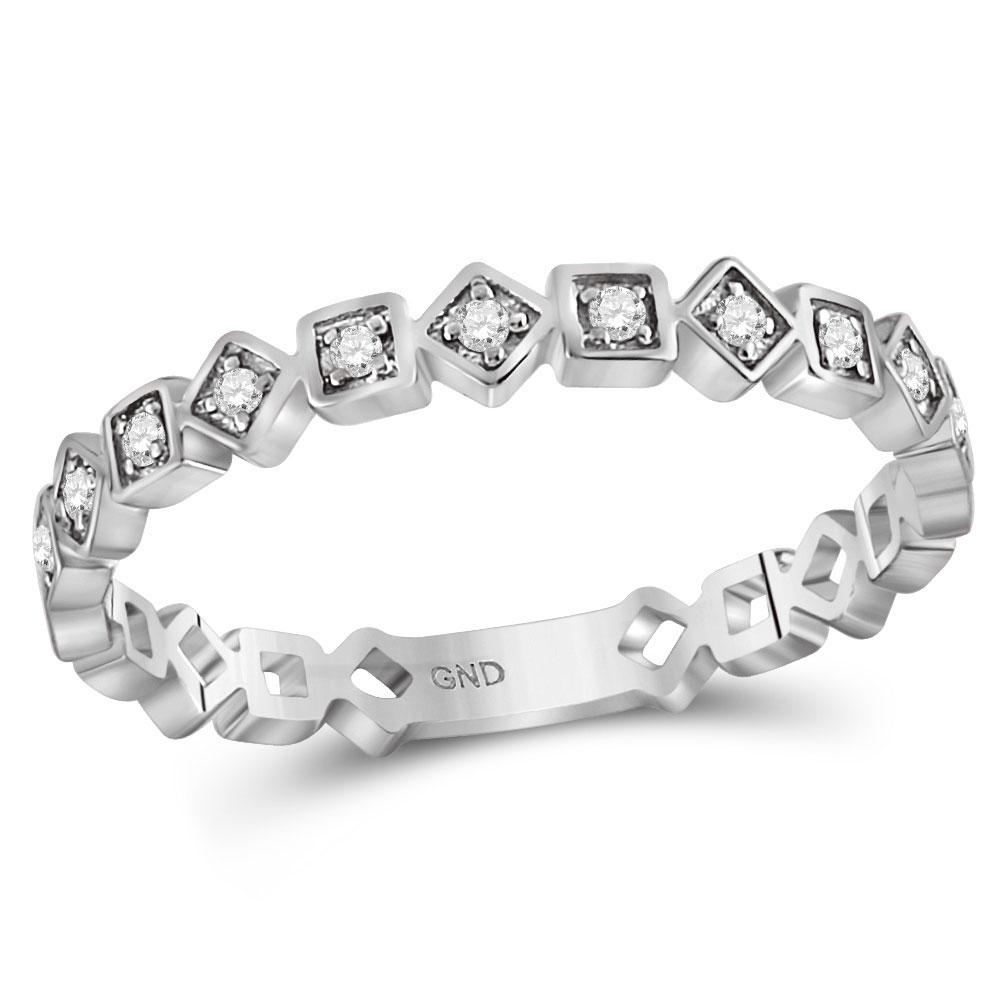 GND Diamond Stackable Band 10kt White Gold Womens Round Diamond Squares Stackable Band Ring 1/10 Cttw
