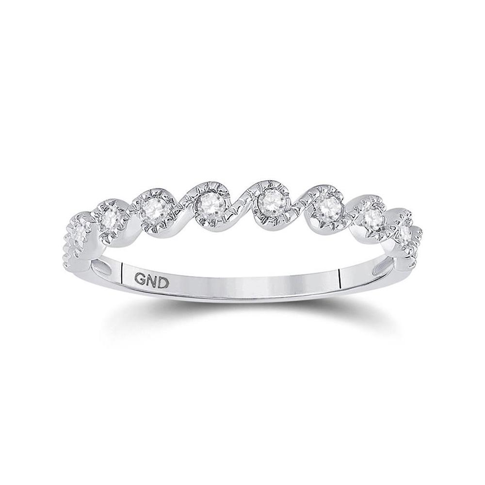 GND Diamond Stackable Band 10kt White Gold Womens Round Diamond Stackable Band Ring 1/6 Cttw