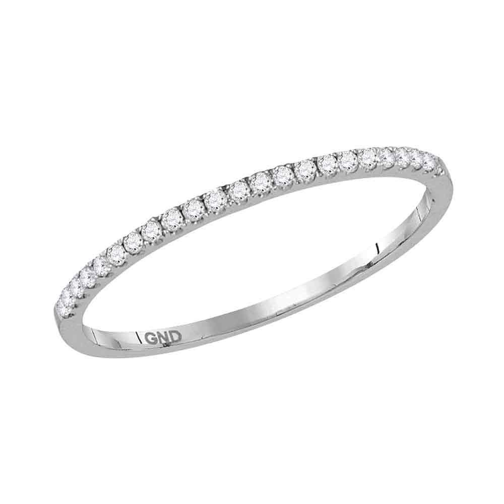 GND Diamond Stackable Band 10kt White Gold Womens Round Diamond Timeless Stackable Band Ring 1/8 Cttw