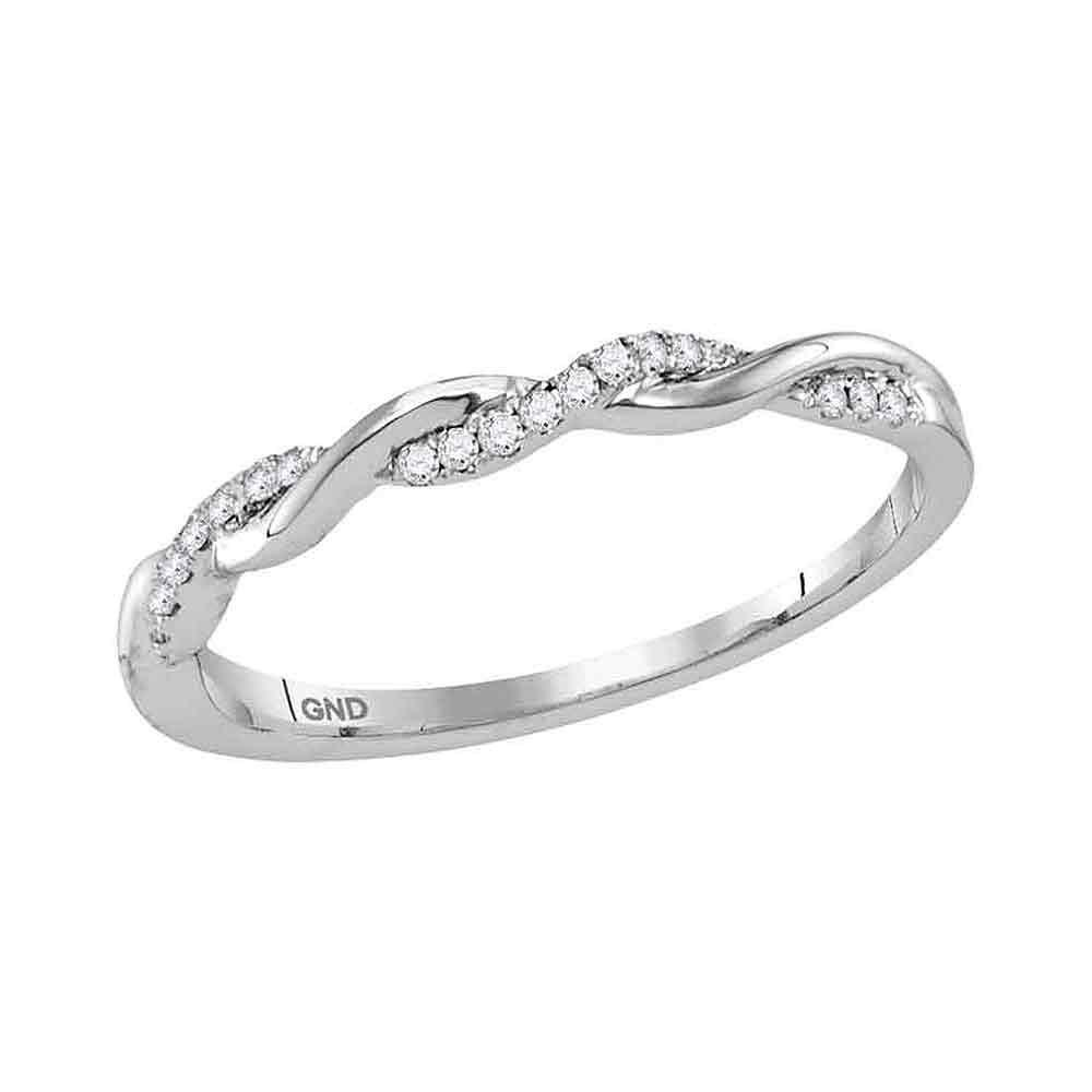 GND Diamond Stackable Band 10kt White Gold Womens Round Diamond Twist Stackable Band Ring 1/12 Cttw