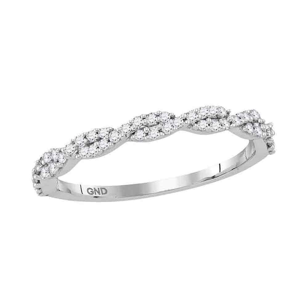 GND Diamond Stackable Band 10kt White Gold Womens Round Diamond Twist Stackable Band Ring 1/6 Cttw