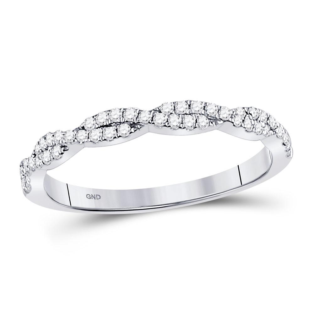 GND Diamond Stackable Band 10kt White Gold Womens Round Diamond Woven Twist Stackable Band Ring 1/4 Cttw