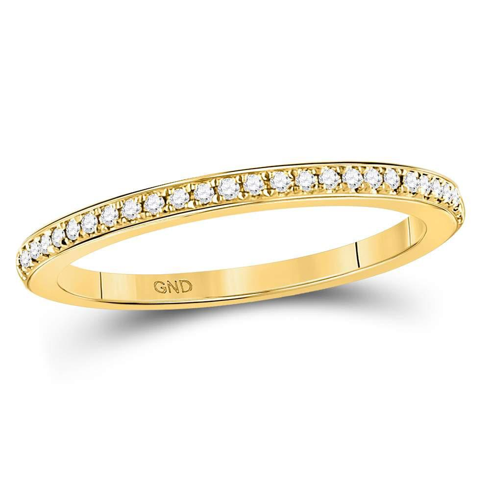 GND Diamond Stackable Band 10kt Yellow Gold Womens Round Diamond Anniversary Stackable Band Ring 1/8 Cttw