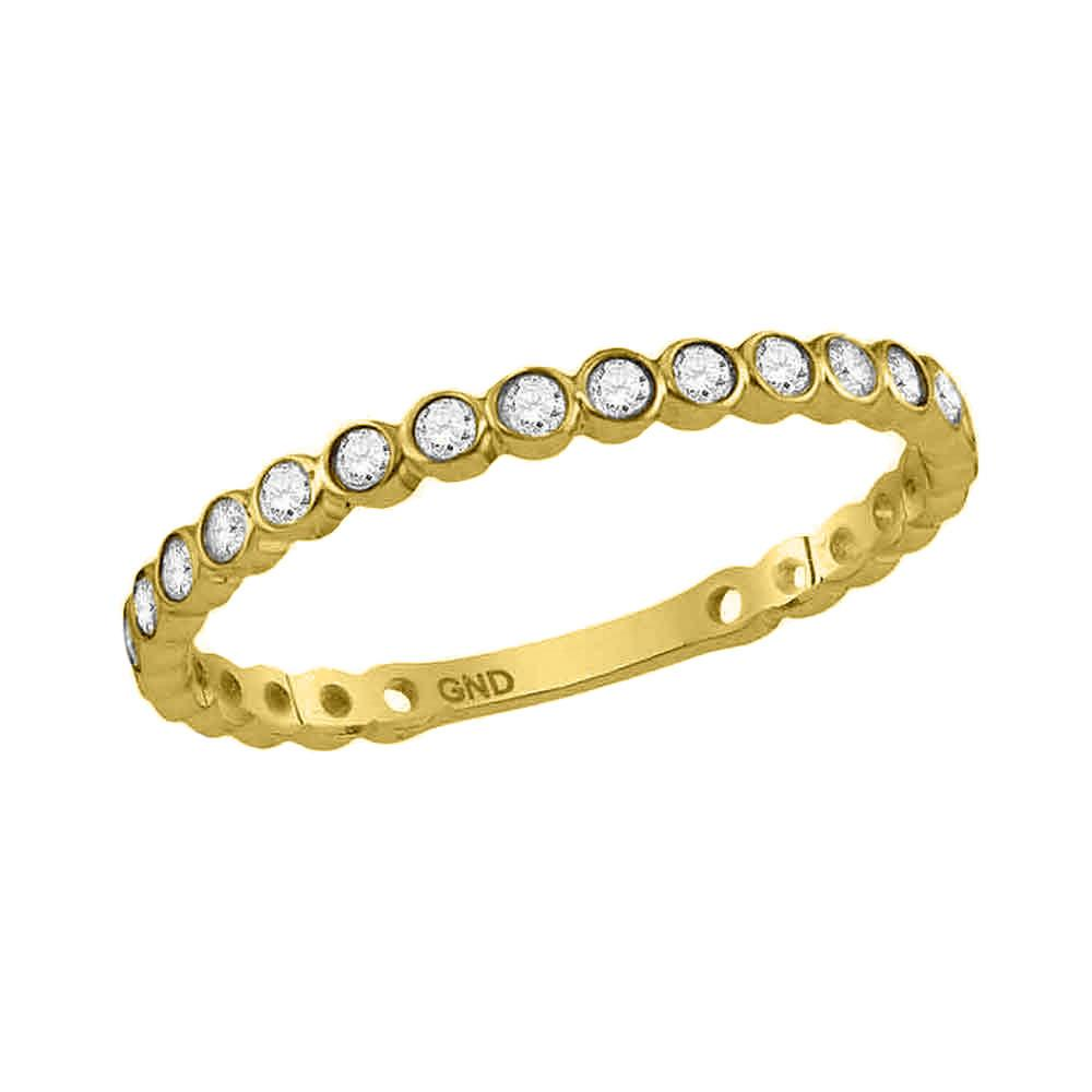 GND Diamond Stackable Band 10kt Yellow Gold Womens Round Diamond Bezel Set Stackable Band Ring 1/5 Cttw