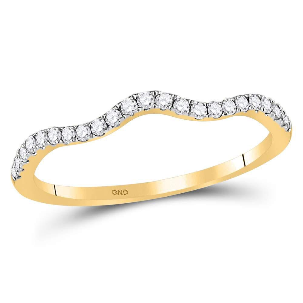 GND Diamond Stackable Band 10kt Yellow Gold Womens Round Diamond Contoured Stackable Band Ring 1/5 Cttw