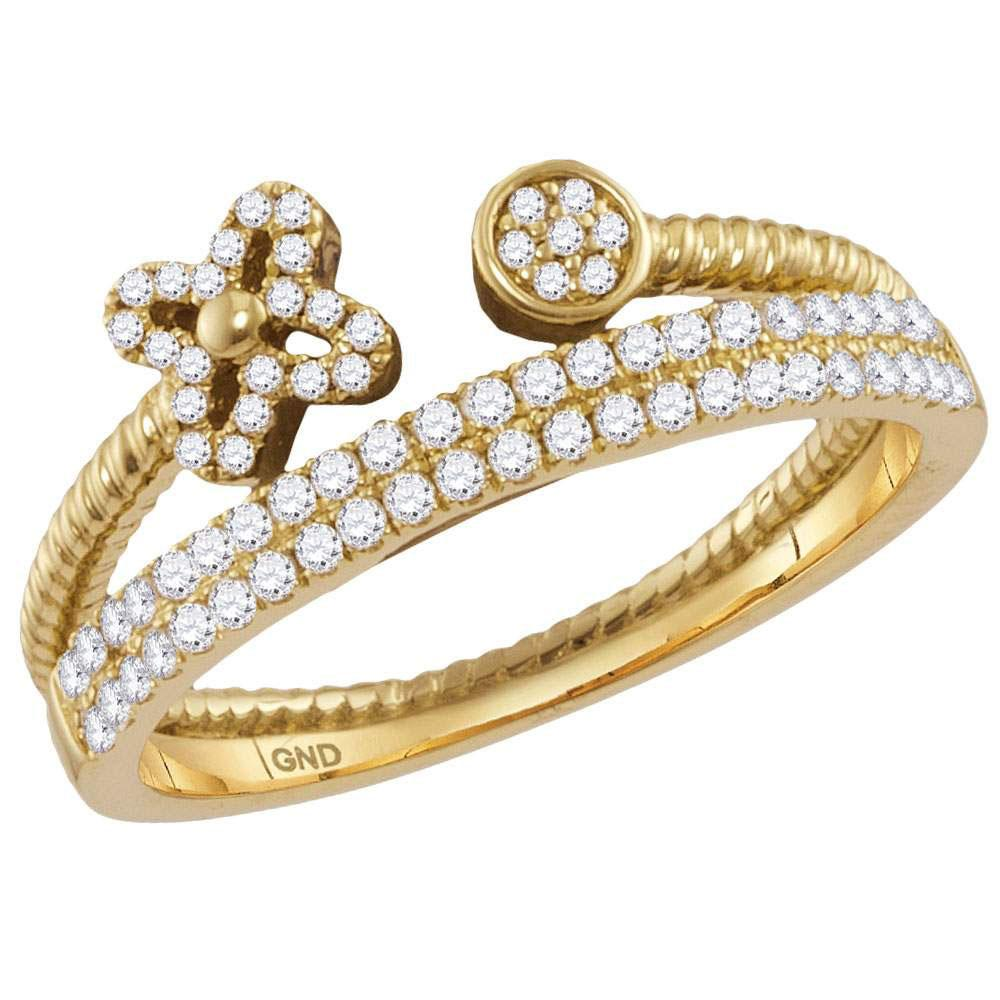 GND Diamond Stackable Band 10kt Yellow Gold Womens Round Diamond Flower Bisected Stackable Band Ring 1/5 Cttw