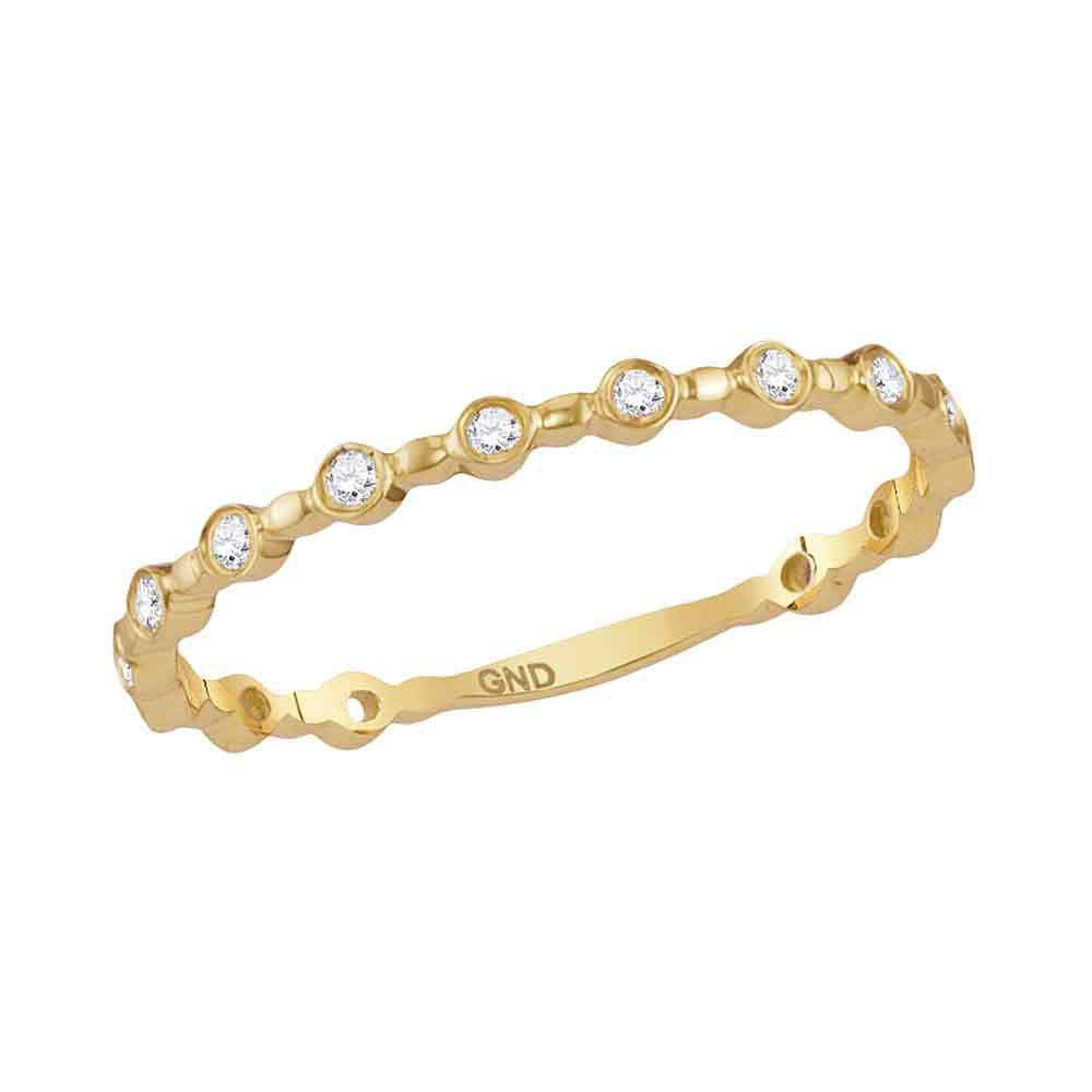 GND Diamond Stackable Band 10kt Yellow Gold Womens Round Diamond Modern Stackable Band Ring 1/10 Cttw