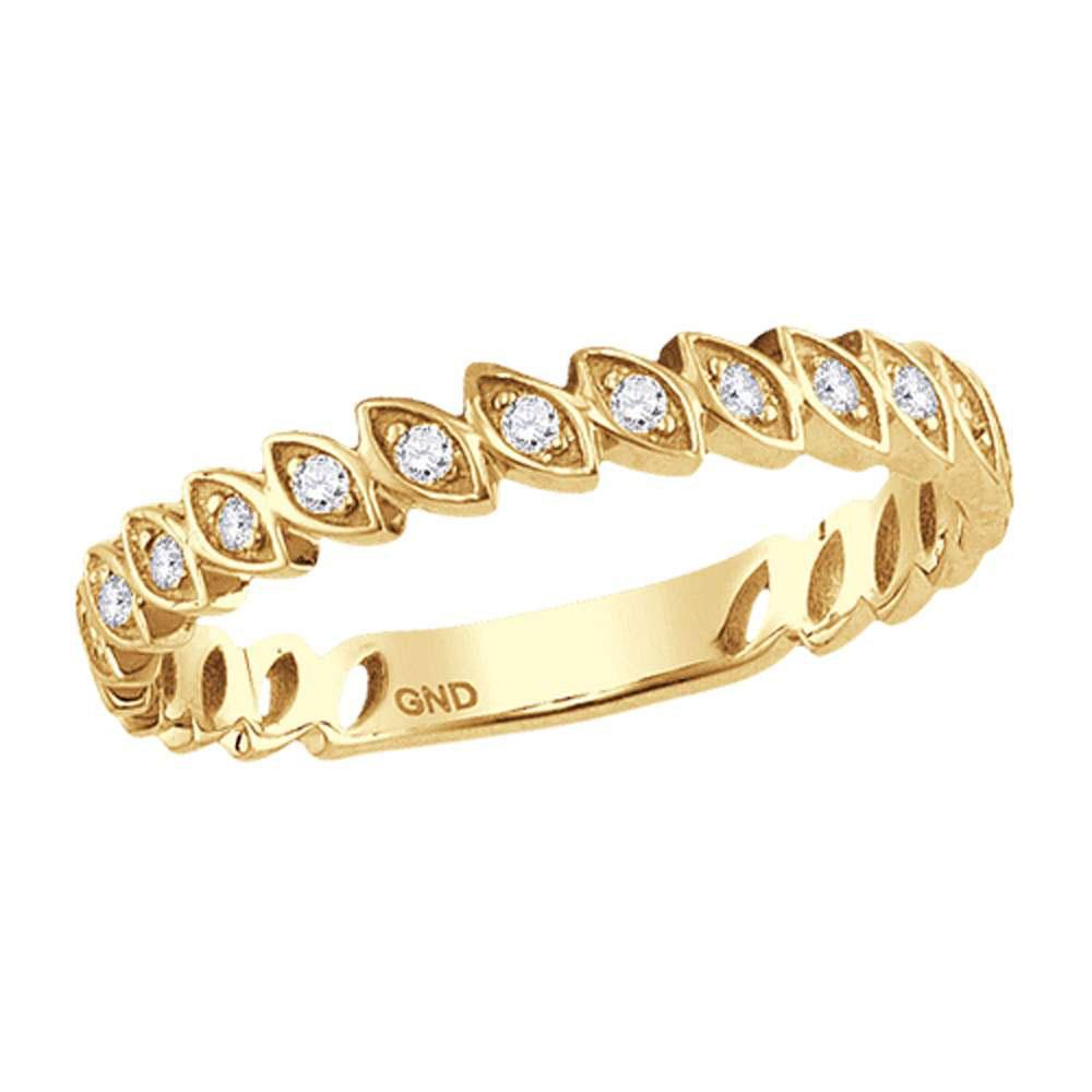 GND Diamond Stackable Band 10kt Yellow Gold Womens Round Diamond Ovals Stackable Band Ring 1/10 Cttw