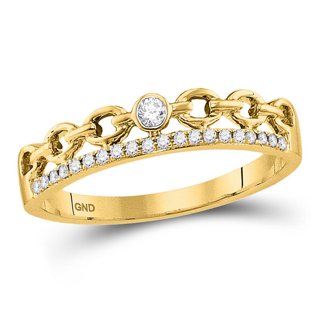GND Diamond Stackable Band 10kt Yellow Gold Womens Round Diamond Rolo Link Stackable Band Ring 1/12 Cttw