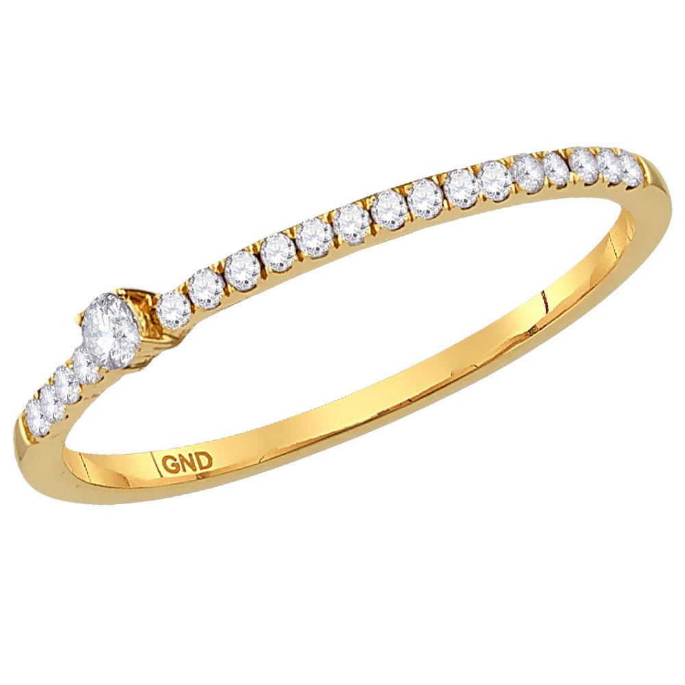 GND Diamond Stackable Band 10kt Yellow Gold Womens Round Diamond Solitaire Stackable Band Ring 1/6 Cttw