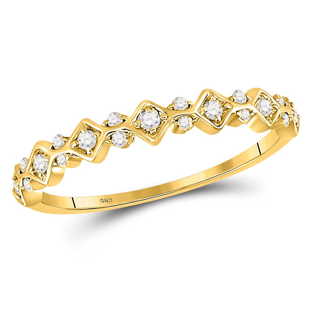 GND Diamond Stackable Band 10kt Yellow Gold Womens Round Diamond Stackable Band Ring 1/6 Cttw