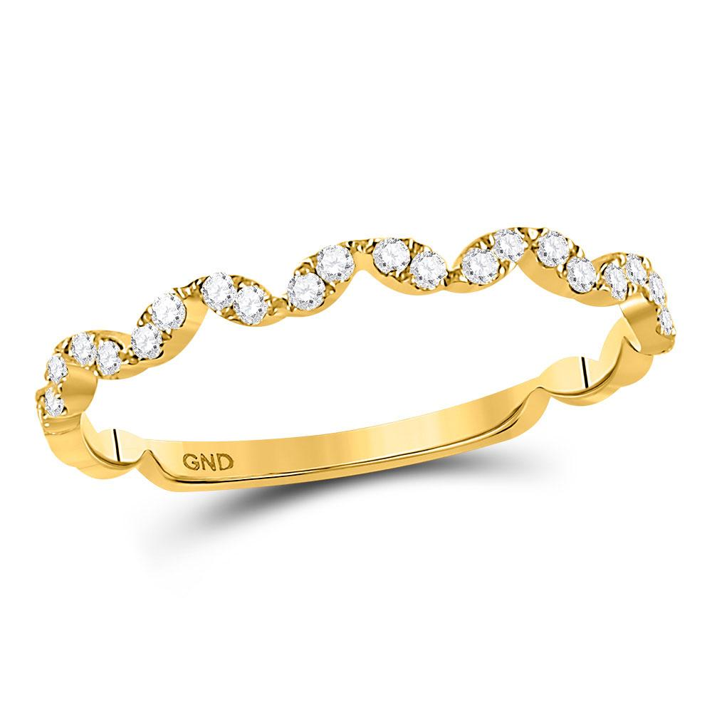 GND Diamond Stackable Band 10kt Yellow Gold Womens Round Diamond Zigzag Stackable Band Ring 1/5 Cttw