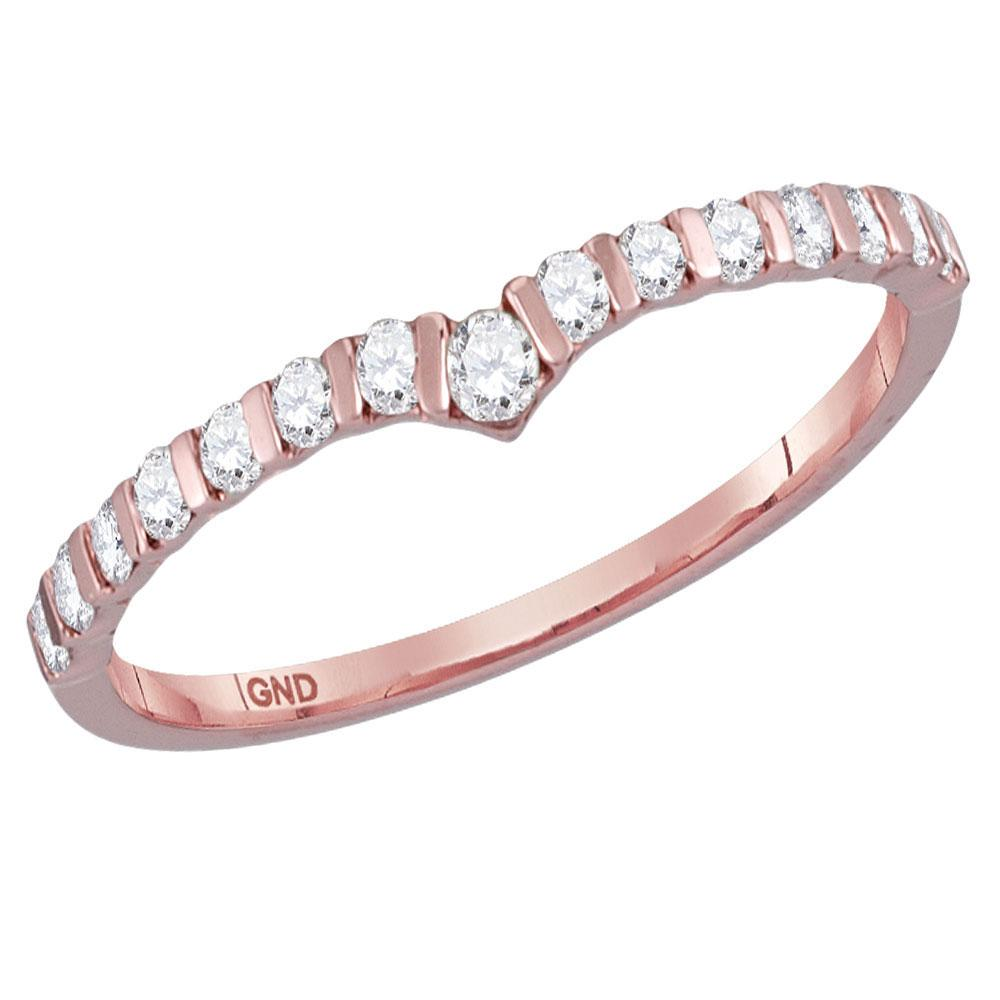 GND Diamond Stackable Band 14kt Rose Gold Womens Round Diamond Chevron Stackable Band Ring 1/4 Cttw