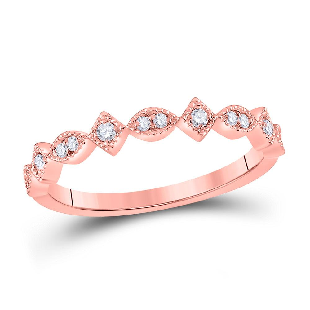 GND Diamond Stackable Band 14kt Rose Gold Womens Round Diamond Geometric Stackable Band Ring 1/10 Cttw