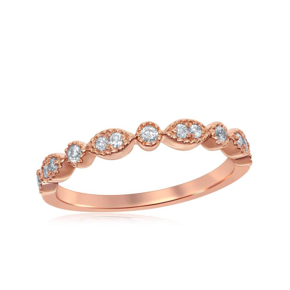 GND Diamond Stackable Band 14kt Rose Gold Womens Round Diamond Milgrain Stackable Band Ring 1/6 Cttw
