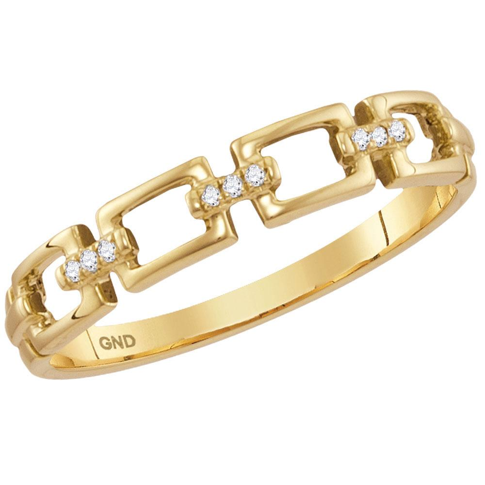 GND Diamond Stackable Band 14kt Yellow Gold Womens Round Diamond Chain Link Stackable Band Ring .03 Cttw