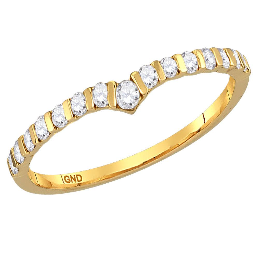 GND Diamond Stackable Band 14kt Yellow Gold Womens Round Diamond Chevron Stackable Band Ring 1/4 Cttw