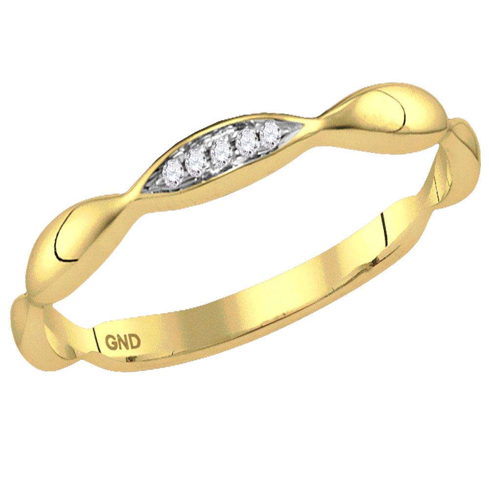 GND Diamond Stackable Band 14kt Yellow Gold Womens Round Diamond Contoured Stackable Band Ring .02 Cttw
