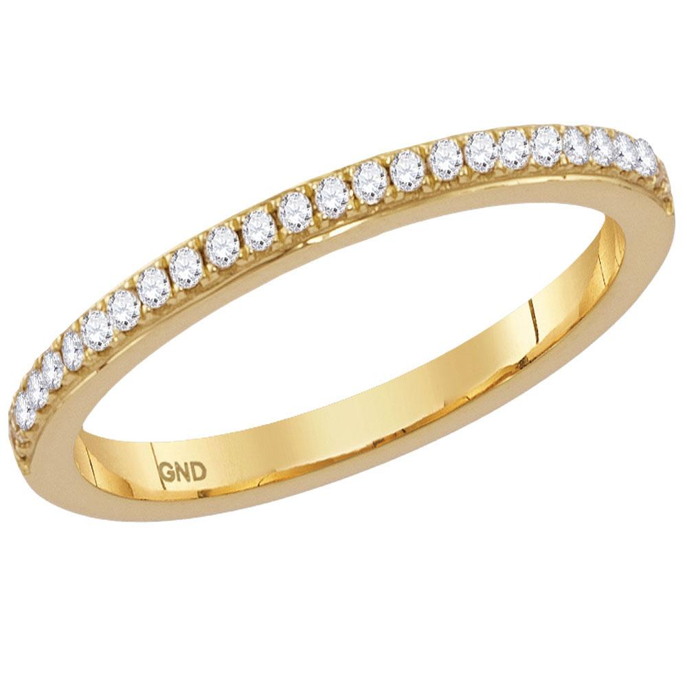 GND Diamond Stackable Band 14kt Yellow Gold Womens Round Diamond Single Row Stackable Band Ring 1/8 Cttw
