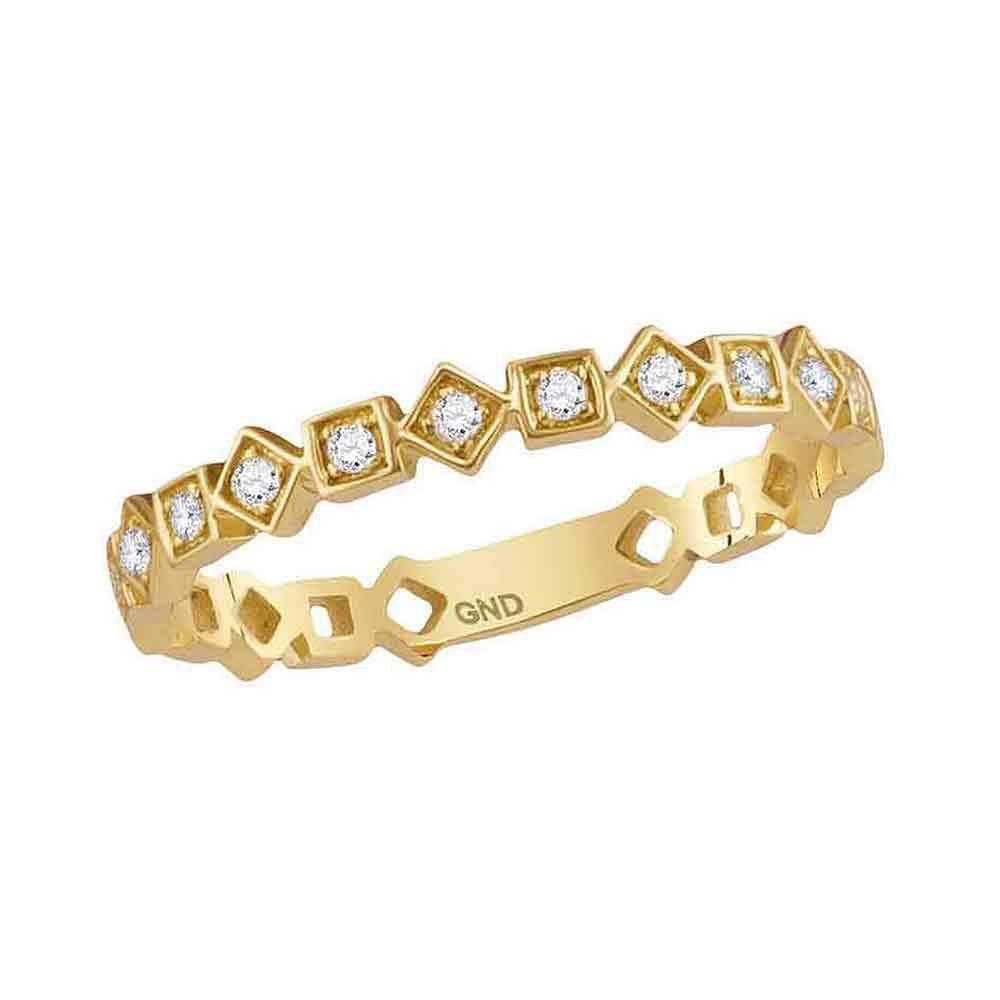 GND Diamond Stackable Band 14kt Yellow Gold Womens Round Diamond Squares Stackable Band Ring 1/10 Cttw