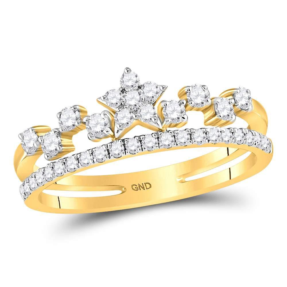 GND Diamond Star Ring 14kt Yellow Gold Womens Round Diamond Star Band Ring 3/8 Cttw