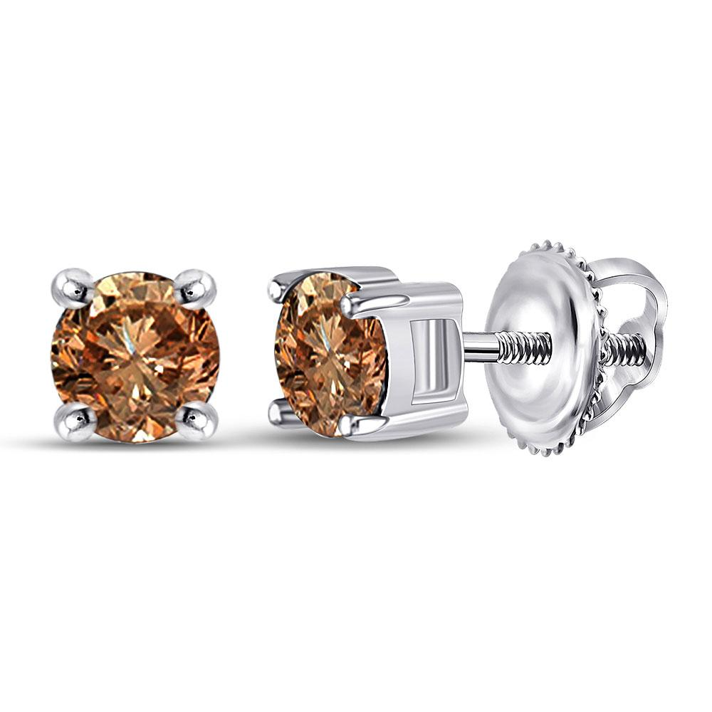 GND Diamond Stud Earring 10kt White Gold Womens Round Brown Diamond Solitaire Earrings 1 Cttw