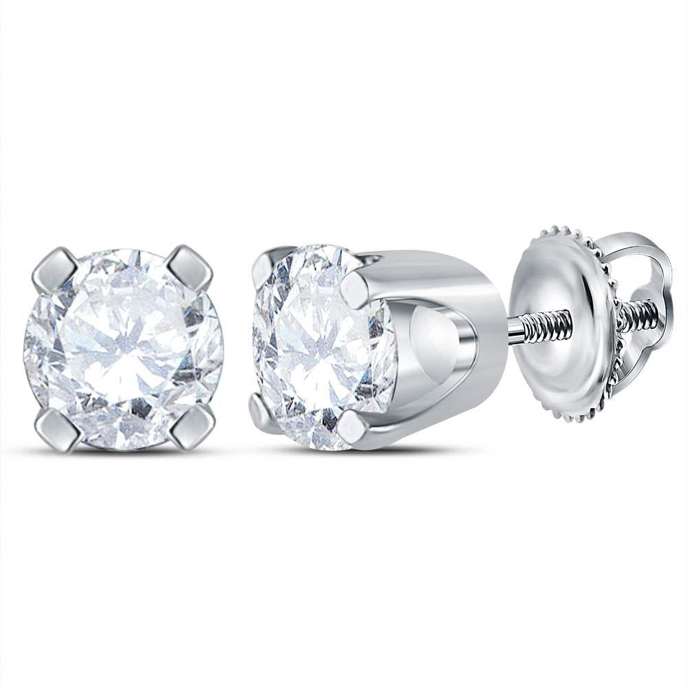 GND Diamond Stud Earring 14kt White Gold Unisex Round Diamond Solitaire Stud Earrings 1/2 Cttw