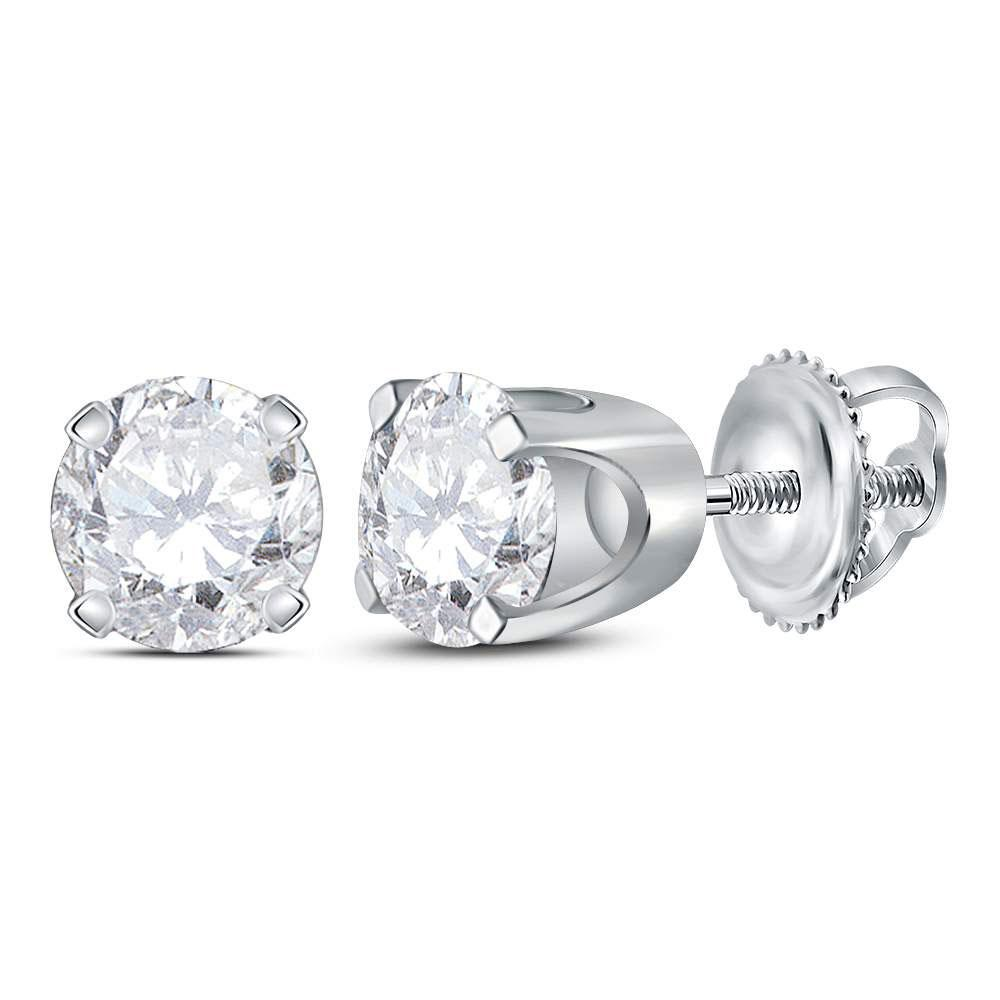 GND Diamond Stud Earring 14kt White Gold Unisex Round Diamond Solitaire Stud Earrings 3/4 Cttw