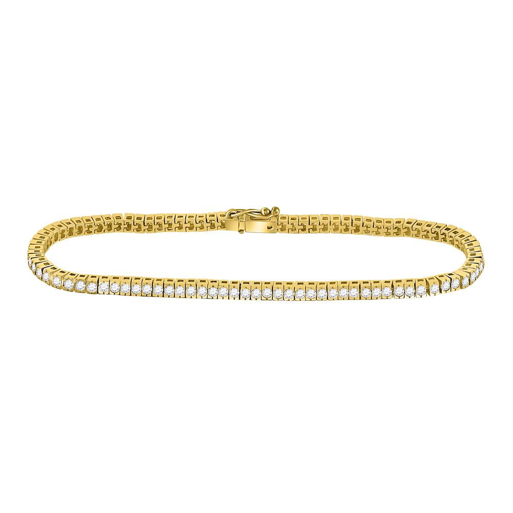 GND Diamond Tennis Bracelet 14kt Yellow Gold Womens Round Diamond Classic Tennis Bracelet 2 Cttw