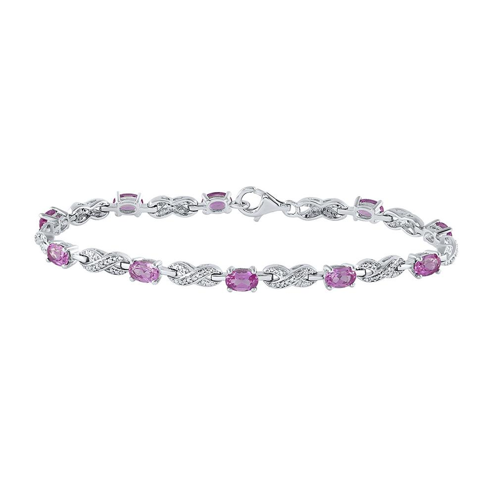 GND Diamond Tennis Bracelet Sterling Silver Womens Oval Lab-Created Pink Sapphire Fashion Bracelet 3-7/8 Cttw