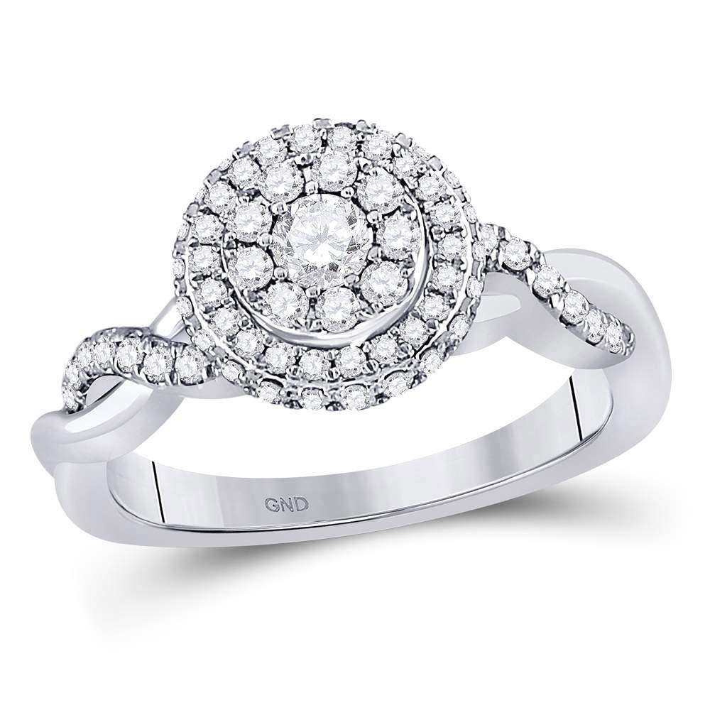 GND Engagement Bridal Ring 10kt White Gold Round Diamond Cluster Bridal Wedding Engagement Ring 3/4 Cttw
