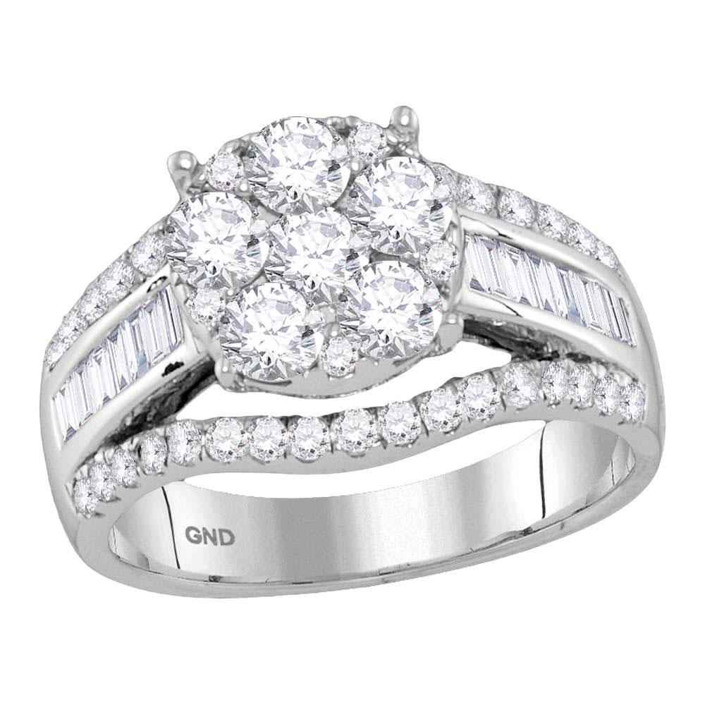 GND Engagement Bridal Ring 14kt White Gold Round Diamond Cluster Bridal Wedding Engagement Ring 1-7/8 Cttw