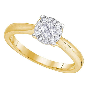 GND Engagement Bridal Ring 14kt Yellow Gold Princess Round Diamond Cluster Bridal Wedding Engagement Ring 1/4 Cttw