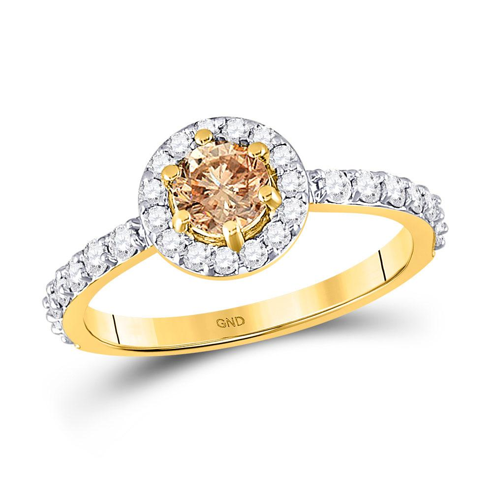 GND Engagement Bridal Ring 14kt Yellow Gold Round Brown Diamond Solitaire Bridal Wedding Engagement Ring 1 Cttw